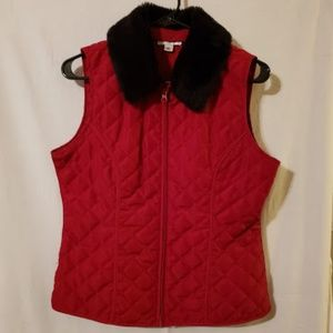 Quilted Jacket Vest with Removable Fur Like Collar